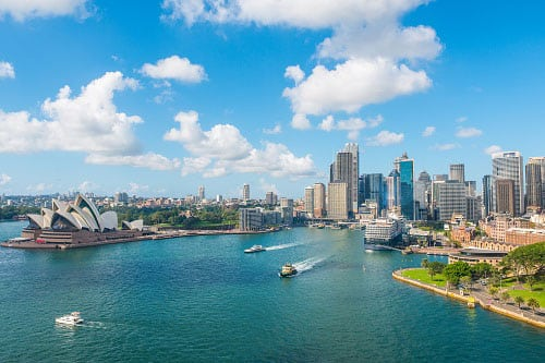 Sydney Harbour with Sydney Opera House and city view