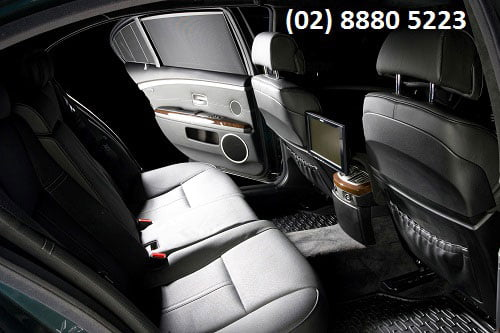 Leather seat and interior of back of a Sydney Limo sedan