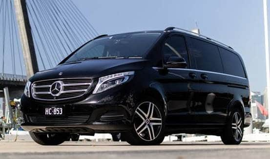 Black Mercedes Benz V-Class SUV front/side view